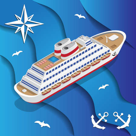Cruise liner on the waves. Isometric. Vector illustration.