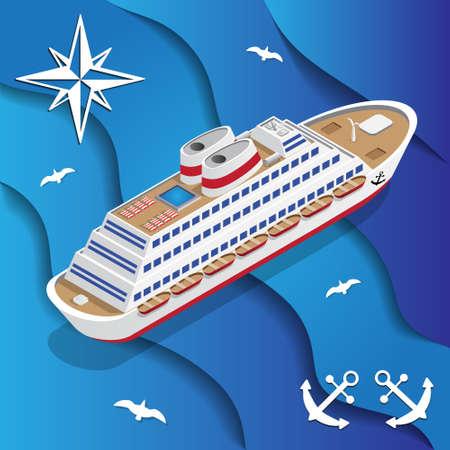 Cruiseschip op de golven. Isometrisch. Vector illustratie.