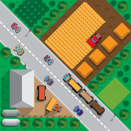 Agricultural work. View from above. Vector illustration.