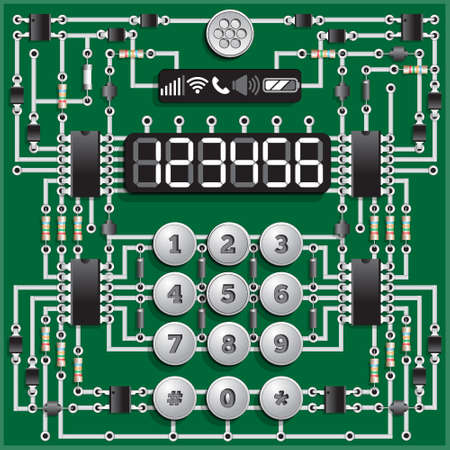 The electronic board in the form of a phone. Template for displaying numbers. Vector illustration.