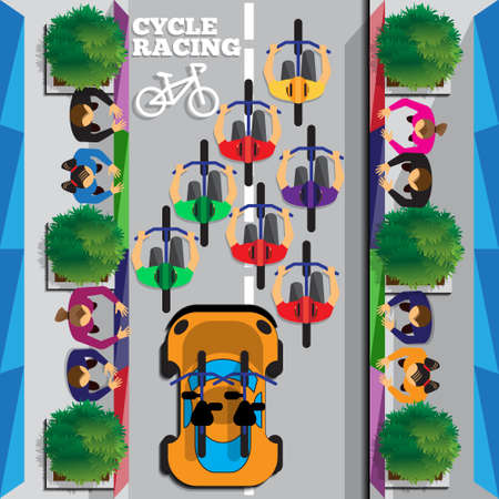 Cyclists group at professional race. Riding through the city. Top view. Vector illustration. Illustration