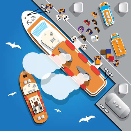 Preparation cruise ship to sail. View from above. Vector illustration.