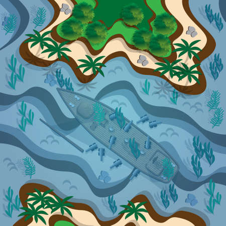 Tropical islands and sunken ship. View from above. Vector illustration. Vettoriali