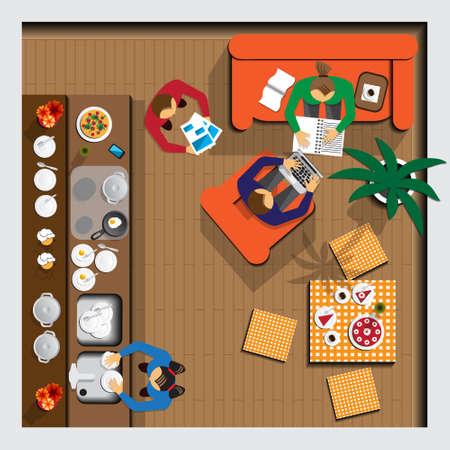 Family in the kitchen. Top view. Vector illustration. Vektorové ilustrace