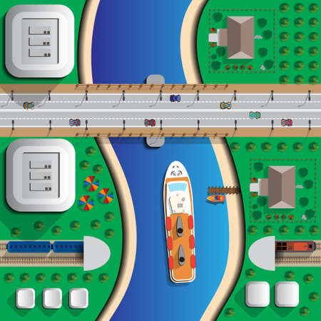 Transportation. Road bridge, railway tunnel and the ship floating on the river. View from above. Vector illustration.
