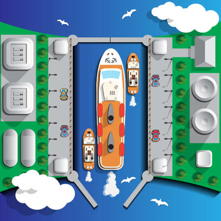 The gateway and cruise ship. View from above. Vector illustration.