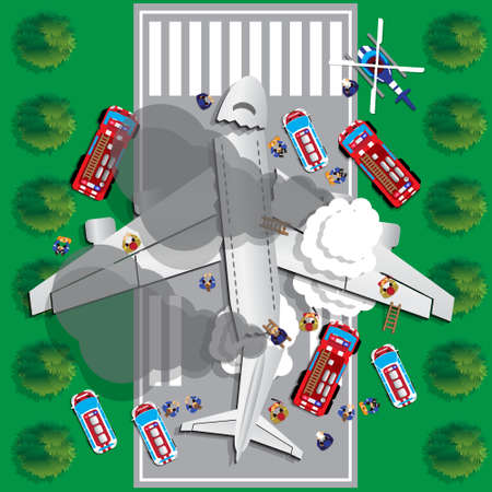 Plane crash. View from above. Vector illustration.