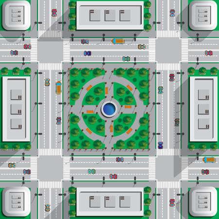 City Park. View from above. Vector illustration. Ilustração