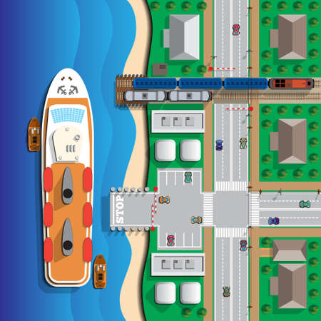 Ferry. View from above. Vector illustration. Illustration