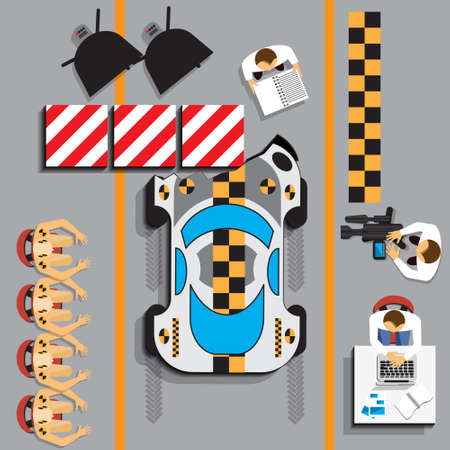 Car crash test in lab. View from above. Vector illustration. Stock Illustratie