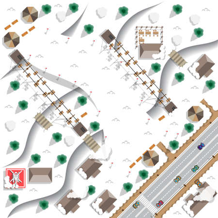 Map of the ski resort. View from above. Vector illustration. Vetores