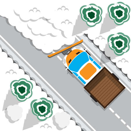 Cleaning the snow off the road. View from above. Vector illustration. Иллюстрация