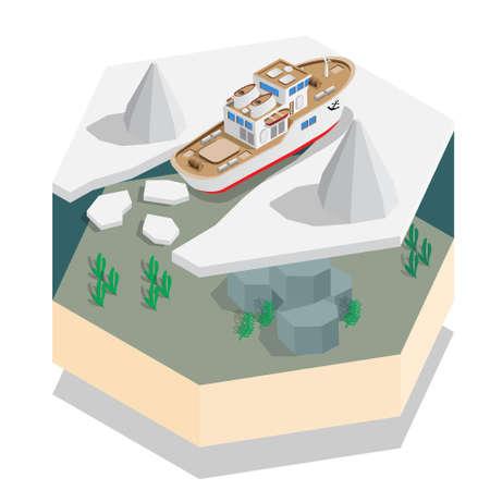 Schip in het zee-ijs. Isometrisch. Vector illustratie. Vector Illustratie