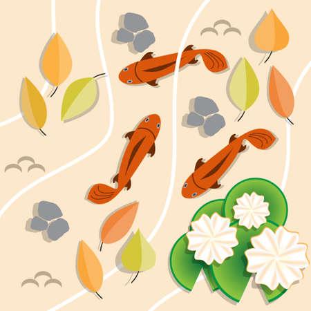Estanque de otoño. Vista superior. Ilustración de vector.