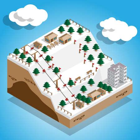 Ski resort. Vector illustration. Isometric.