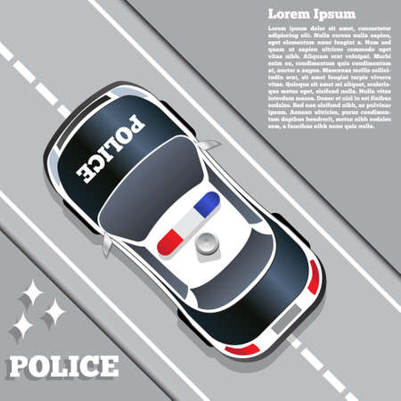 A police car on the road. View from above. Template design presentation. Vector illustration. Vettoriali
