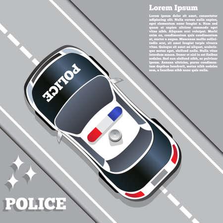 Ein Polizeiauto auf der Straße. Sicht von oben. Vorlage Design Vorlage. Vektorillustration.