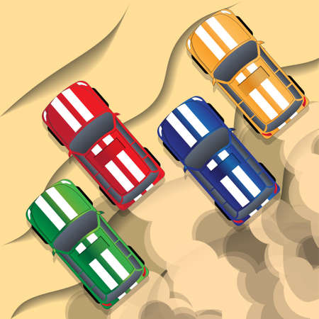 Rally off-road. View from above. Vector illustration.