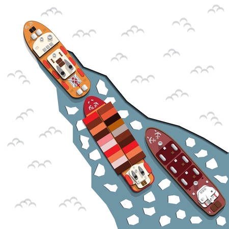 Icebreaker leads ships. View from above. Vector illustration.