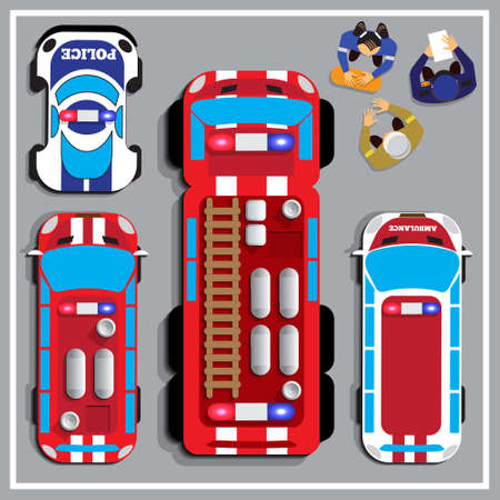 Illustration of different cars. View from above. Vector illustration.