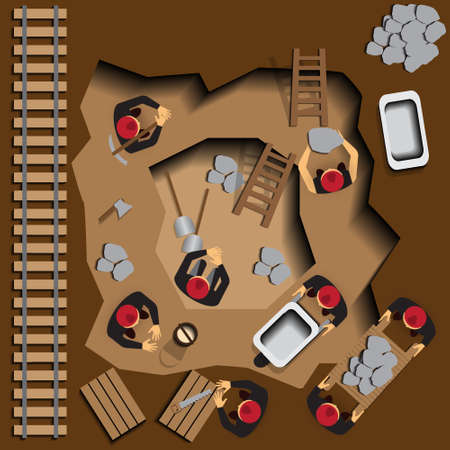 Miners at work. View from above. Vector illustration.