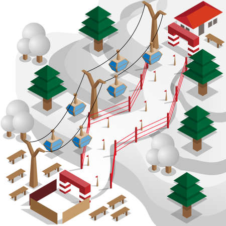 Ski Resort. Speed ??skiing. Vector illustration. Isometric. Ilustração