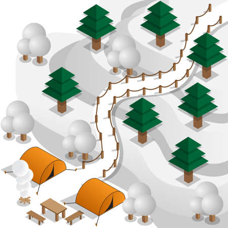 Winter camp in the mountains. Isometric. Vector illustration. Ilustração