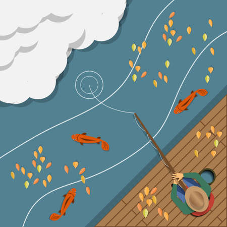 Autumn fishing. View from above. Vector illustration.