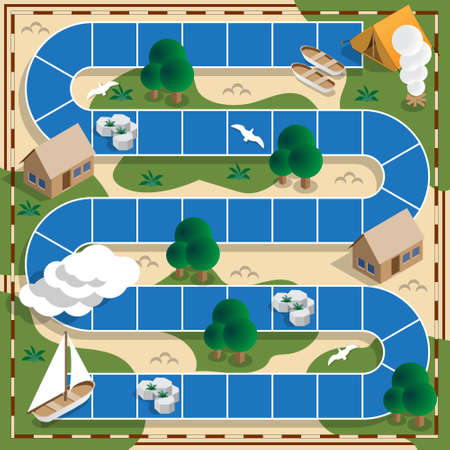 Camping on the river. Child Game. Isometric. Vector illustration.