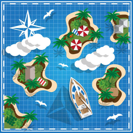 Tropical Islands on the map. View from above. Vector illustration. Vektorové ilustrace