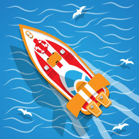 The racing boat. View from above. Vector illustration.