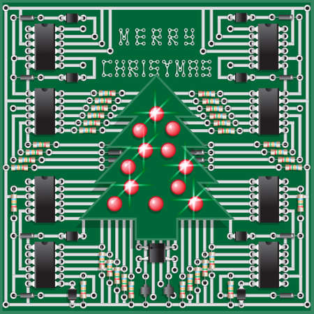 The electronic board of the Christmas tree. Vector illustration. Illustration