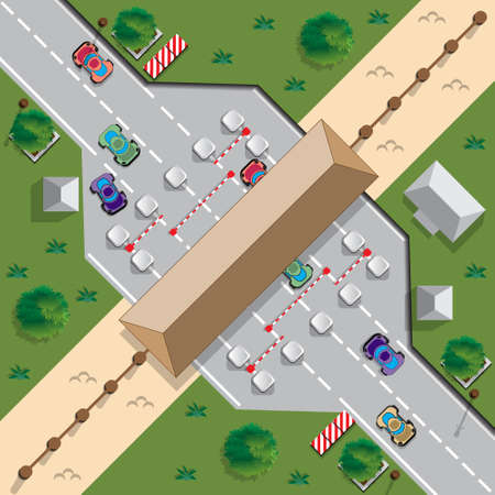 Checkpoint at the border. View from above. Vector illustration.