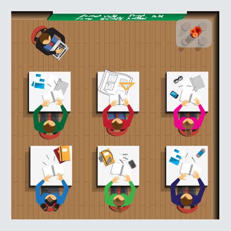 School. Sitting people. Top view. Vector illustration. Ilustración de vector