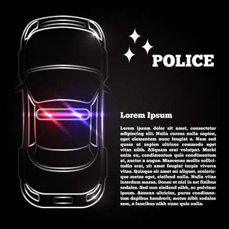 Silhouette of a police car at night. The template for the presentation. Vector illustration.