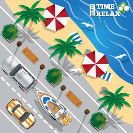 The road along the beach. Boat on a trailer. View from above. Vector illustration.  イラスト・ベクター素材