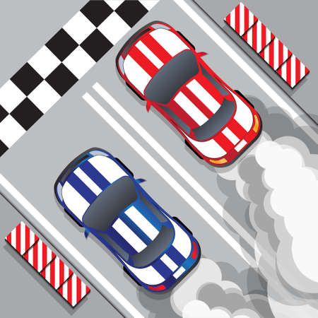 Racing cars at the finish line. Drag racing. View from above. Vector illustration.