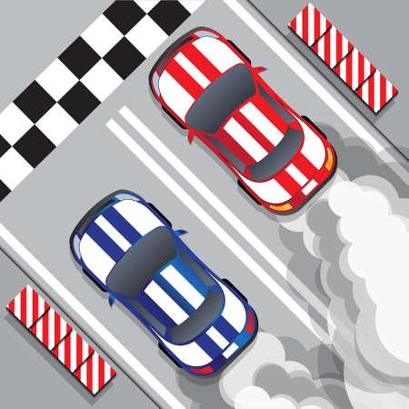 Voitures de course à la ligne d'arrivée. Courses de dragsters. Vue d'en-haut. Illustration vectorielle.