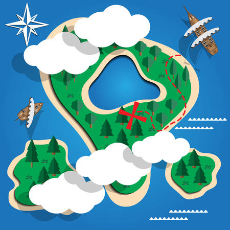 Pirate island. View from above. Vector illustration.