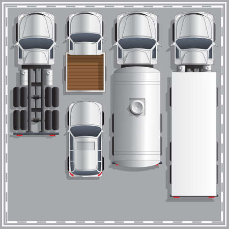 Set trucks. View from above. Vector illustration.