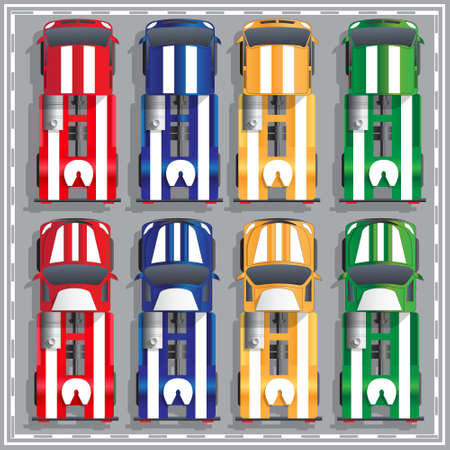 Set of sport trucks. View from above. Vector illustration.