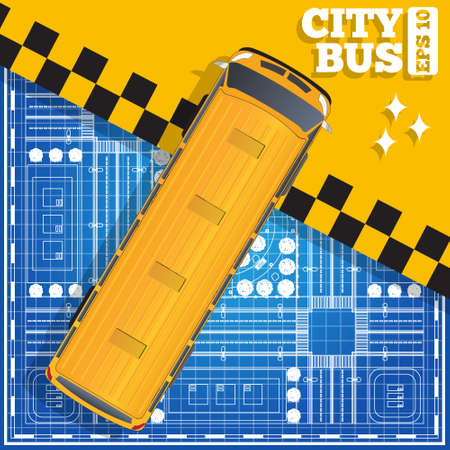 The bus on a city plan. View from above. Vector illustration. Vectores