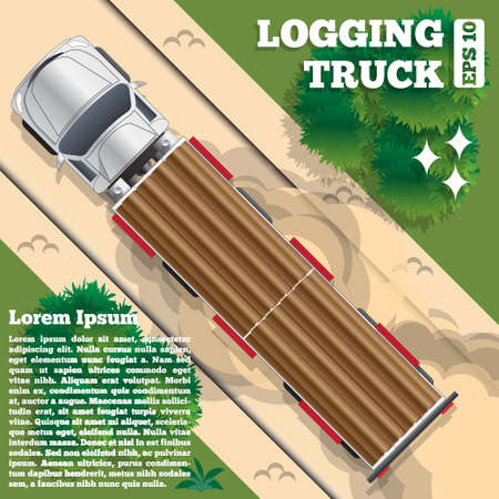 Logging truck on a forest road. View from above. Vector illustration.