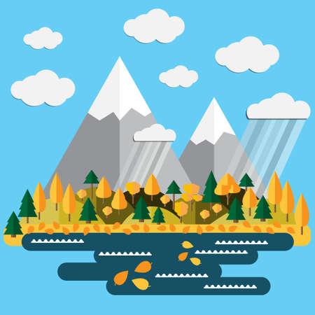 Autumn landscape on blue background. Vector illustration. Reklamní fotografie - 115906817