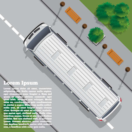 The bus goes on the road. View from above. Vector illustration.