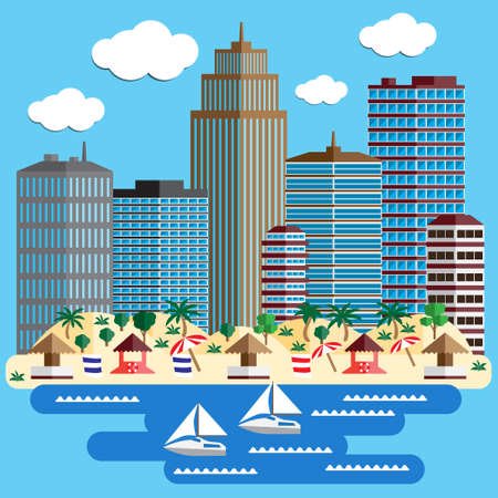 The beach Vector illustration.