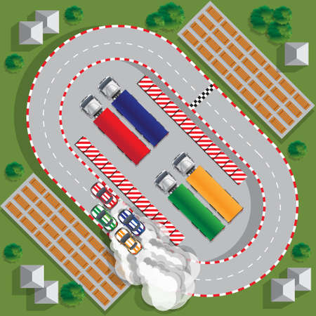 Race track. View from above. Vector illustration. Ilustração
