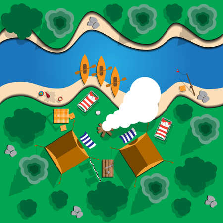 Camping. View from above. Vector illustration. Ilustração