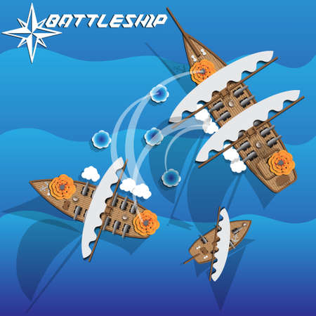 Battle ship. Vector illustration.  イラスト・ベクター素材