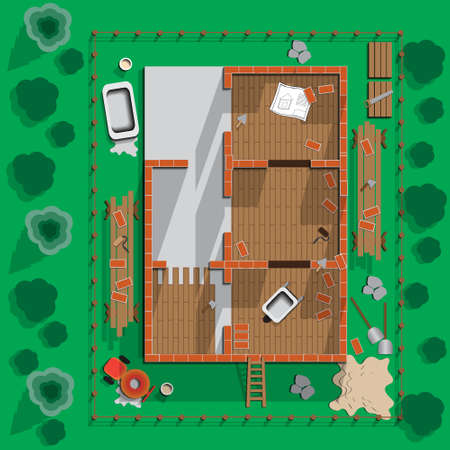 Building brick house. View from above. Vector illustration. Illustration